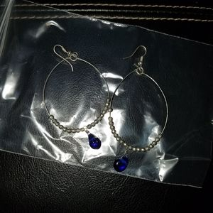 Jewelry - Wire Blue Tear Drop Earrings